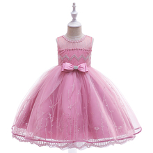 Kids Girls Beading Embroidery Flowers Children Clothes 5 7 9 11 Years Wedding Princess Bowtie Dress for Birthday Party