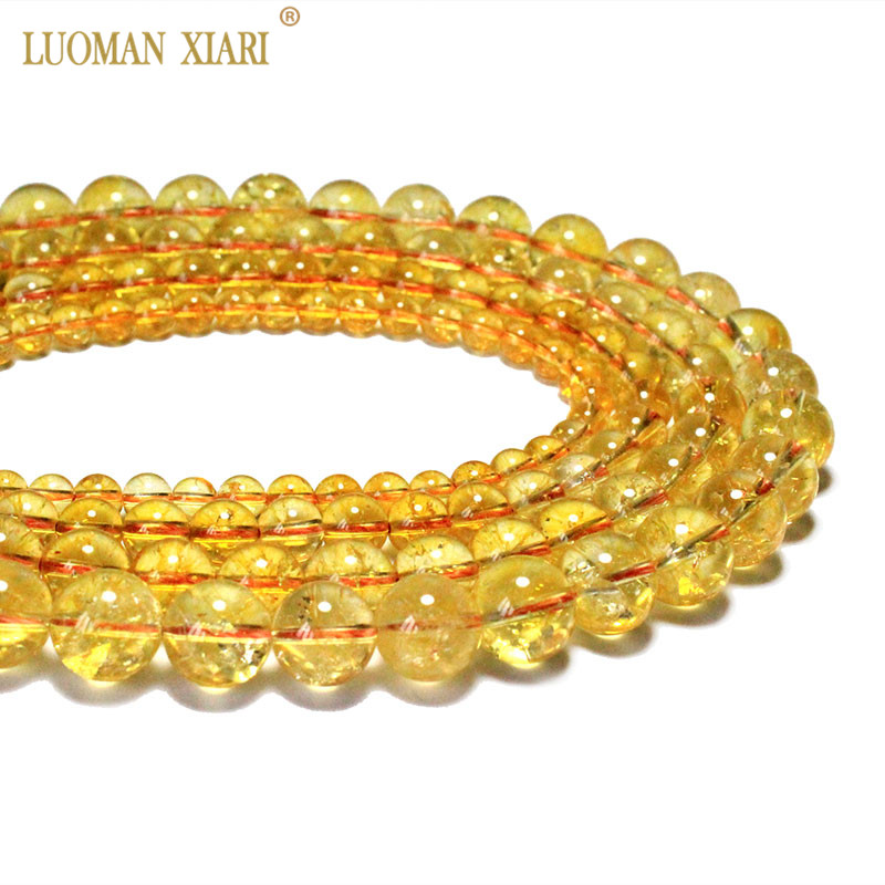 Wholesale AAA+ Natural Citrines Crystal Beads Yellow Quartz Natural Stone Beads For Jewelry Making Diy Necklace 6/ 8/10/12mm 15″