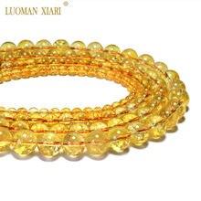 Contas de cristal aaa + citrinos naturais, atacado, amarelo, quartzo, pedra natural, contas para fazer jóias, colar diy 6/ 8/10/12mm 15
