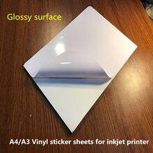 Filme vinílico adesivo a4/a3, bom preço, para pvc, etiqueta em branco, folhas com superfície brilhante