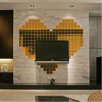 New Fashion 33*33MM Bling Bling Acrylic 3D Wall Sticker Mosaic Mirror Effect Sofa Room Home Decor DIY