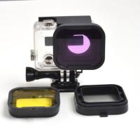 Purple Red Gray Yellow filter 4pcs/lot Lens Filter Diving Filter Gopro HERO 3+ 4 Camera Housing Case Underwater Lens Converter 3