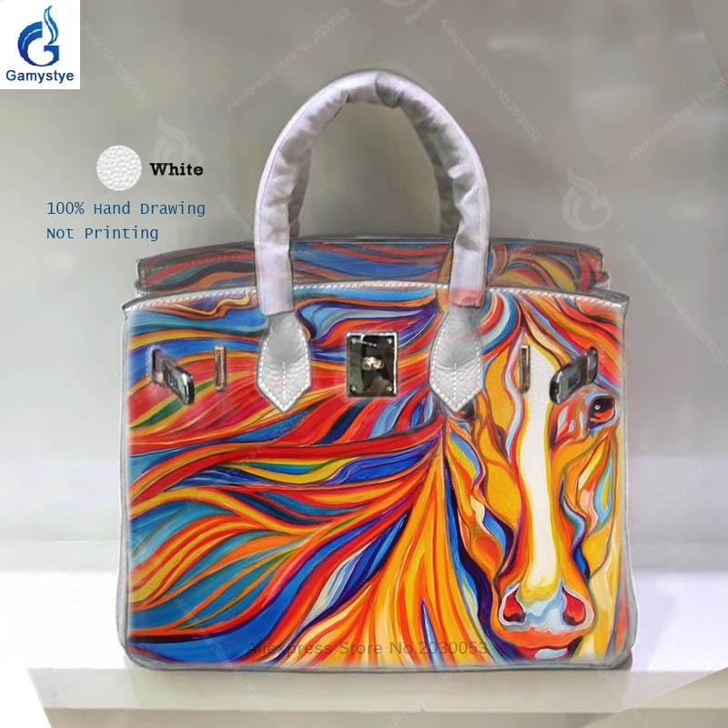 Personality Art Hand Drawing Horse Women Bag Famous Brand Designer Handbags  Sac A Main Genuine Leather Shoulder Bag Yellow Bag Y leather bag 211a690e12ec1
