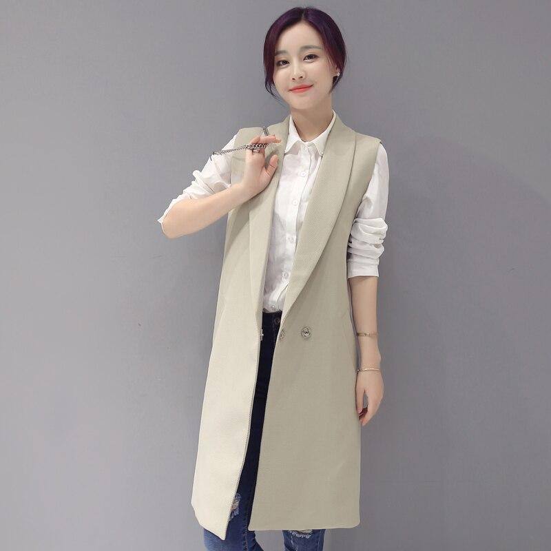 High Quality Elegant Spring Women's Vest Slim Long Female Vests Autumn Sleeveless Coat Jacket Long Waistcoat Pink Cardigans 1882
