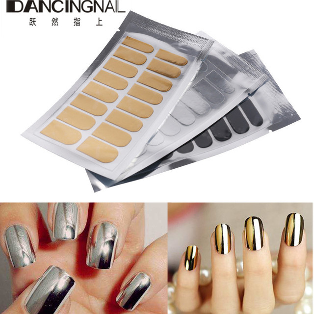 16pcssheet New Nail Art Stickers Gold Silver Black Full Cover Foil