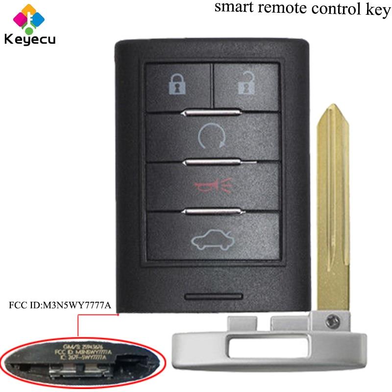 KEYECU Sostituzione Smart Chiave Auto Chiave A Distanza-5 Bottoni & 315 mhz & B106 Lama-FOB per Cadillac CTS STS 2008-2014 FCC ID: m3N5WY7777A
