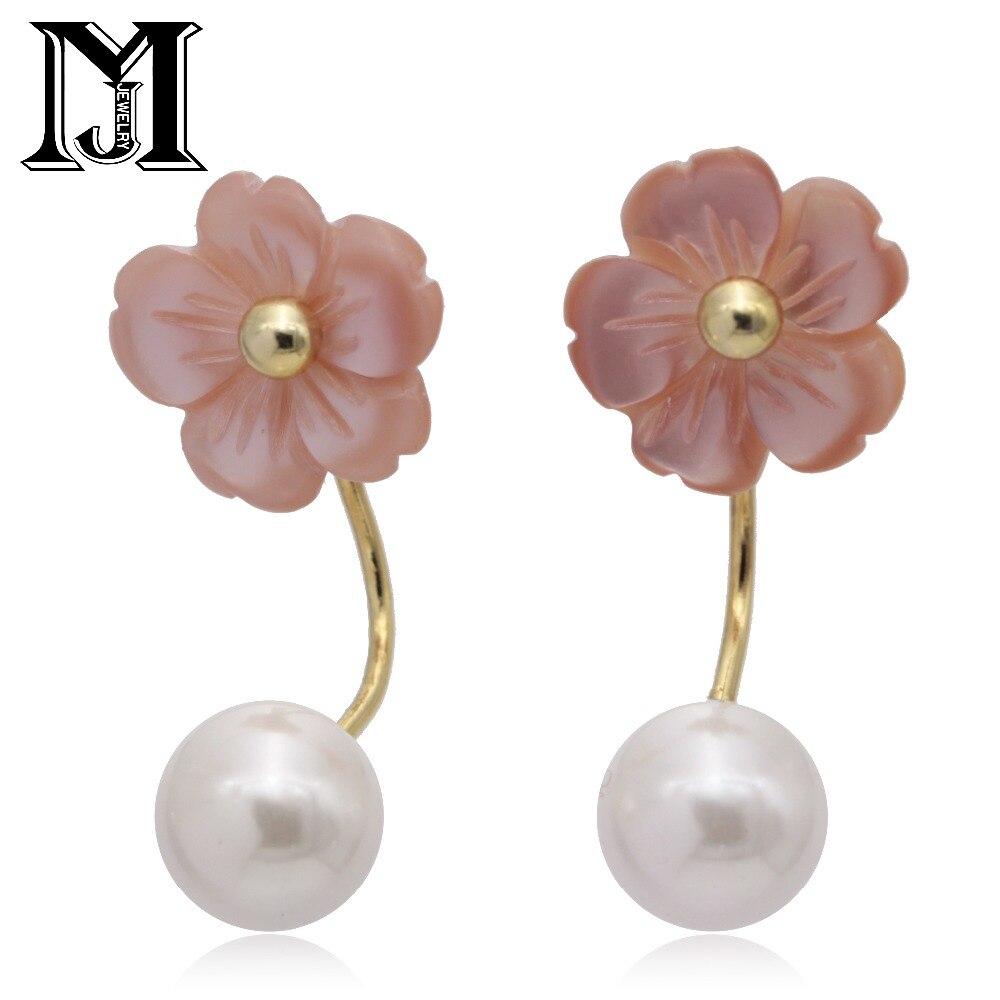 JiaMu S925 silver fashion elegant pendant natural sea shell pearl flower zircon jewelry two long earring for wowen party wedding