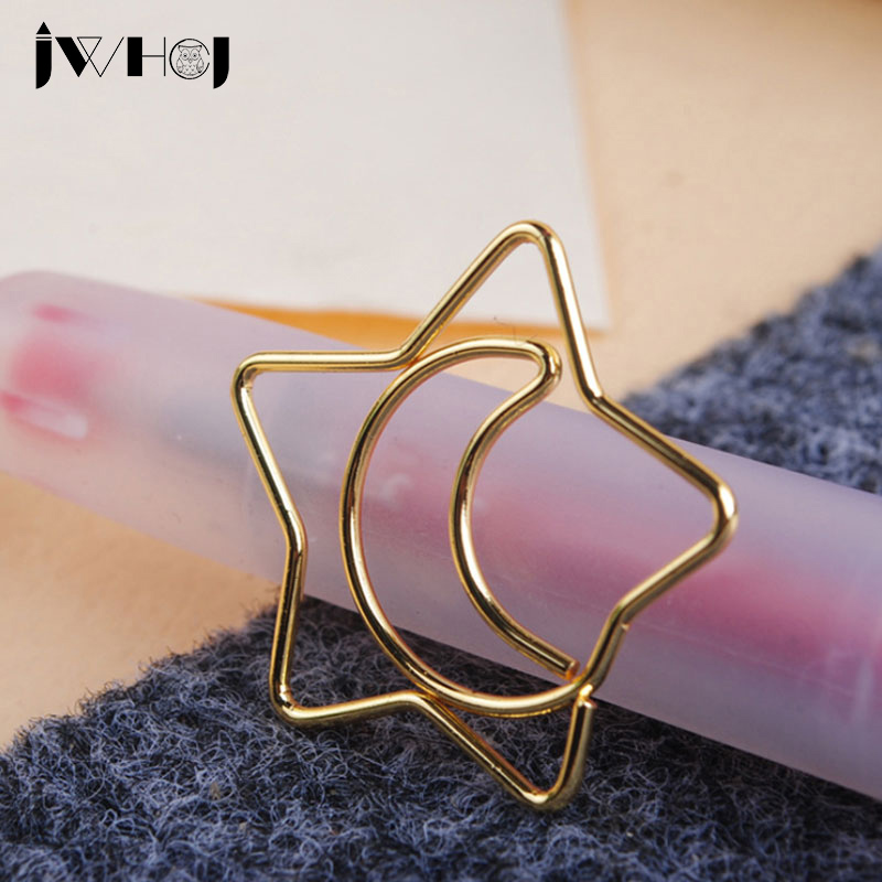 10pcs/lot Cute Stars Moon Shape Paper Clip Material Escolar Bookmarks For Books Stationery School Supplies Papelaria Child Gifts