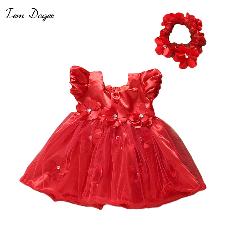 Tem Doger Newborn Baby Girls Infant Dress Clothes Summer Kids Party Birthday Outfits 1-2years Handban Set Christening Gown Baby