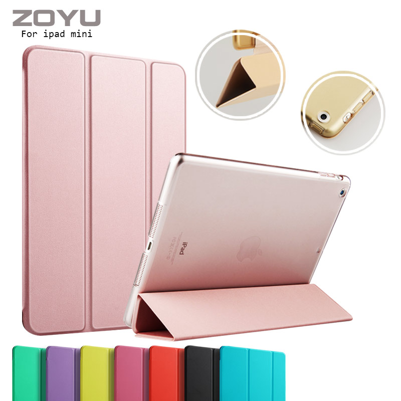 ZOYU Case for iPad mini 2, Tri-fold smart Ultra Slim PU Leather Transparent Back for iPad mini cover case for iPad mini 1 2 3 smart case for ipad mini 4 case transformer folding with stand slim pu leather transparent back cover for ipad mini4 7 9