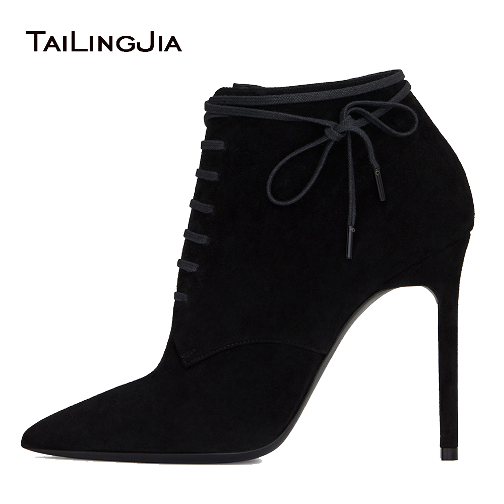 Black Faux Suede High Heel Pointed Toe Ankle Boots for Women 2018 Lace Up Stiletto Heel Booties Ladies Spring Autumn Shoes leopard synthetic suede women pointed toe high stiletto heel boots knee high lace up bootie women platform shoes ladies 2016