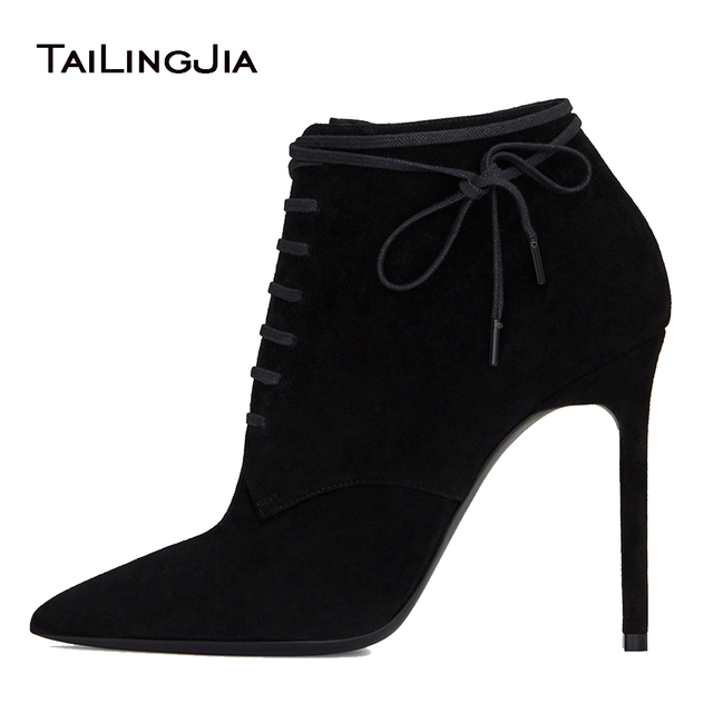 Black Faux Suede High Heel Pointed Toe Ankle Boots for Women 2019 Lace Up Stiletto Heel Booties Ladies Spring Autumn Shoes