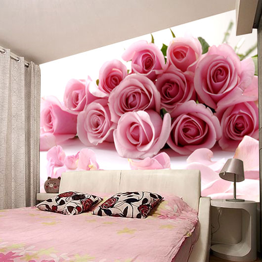 can be customized large waterproof large Mural wall paper 3d photo TV sofa background wallpaper wall pink red rose Marriage room