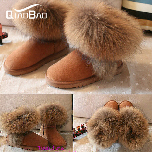 QIAOBAO Genuine Leather Real Raccoon Boots 25 40 size snow boots fur boots winter women s
