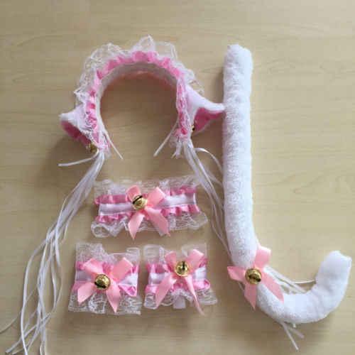 Kobiety kot pokojówka Cosplay Neko kostium pluszowe koronkowe uszy opaski ogon Halloween