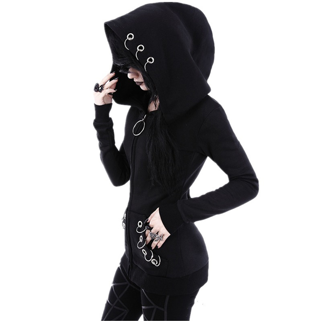 SPIRAL DIRECT ladies GOTHIC ROCK HOODIE goth alternative BLACK plain HOODY