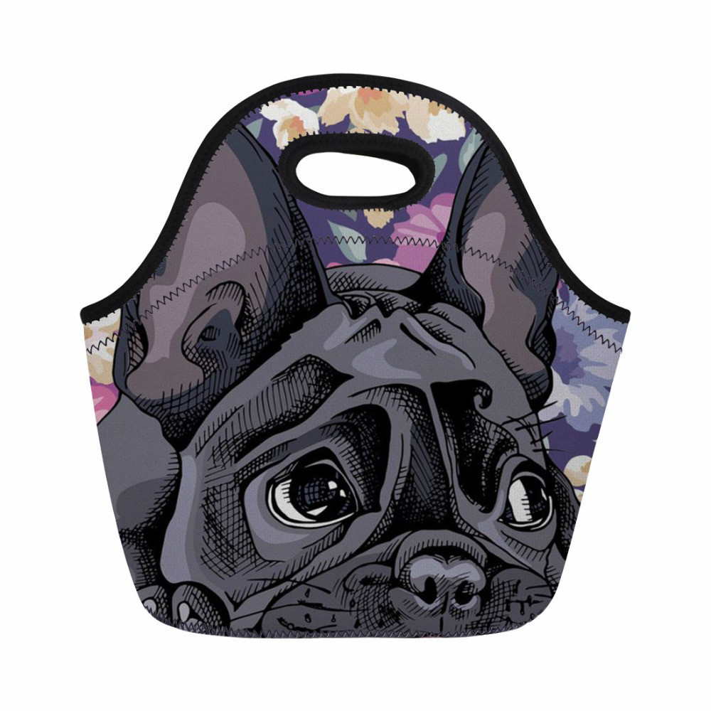 2019 Mode Thikin Mittagessen Tasche Französisch Bulldog Blume Drucken Thermische Tasche Frauen Picknick Bag Fashion Zipper Mahlzeit Sacola Snack Bolsa Kühltasche Exquisite Traditionelle Stickkunst