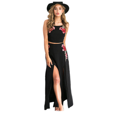 TFGS Womens New Summer Dress Black Sleeveless Halter Embroidered Female Sexy High Split Long Maxi Beach Party