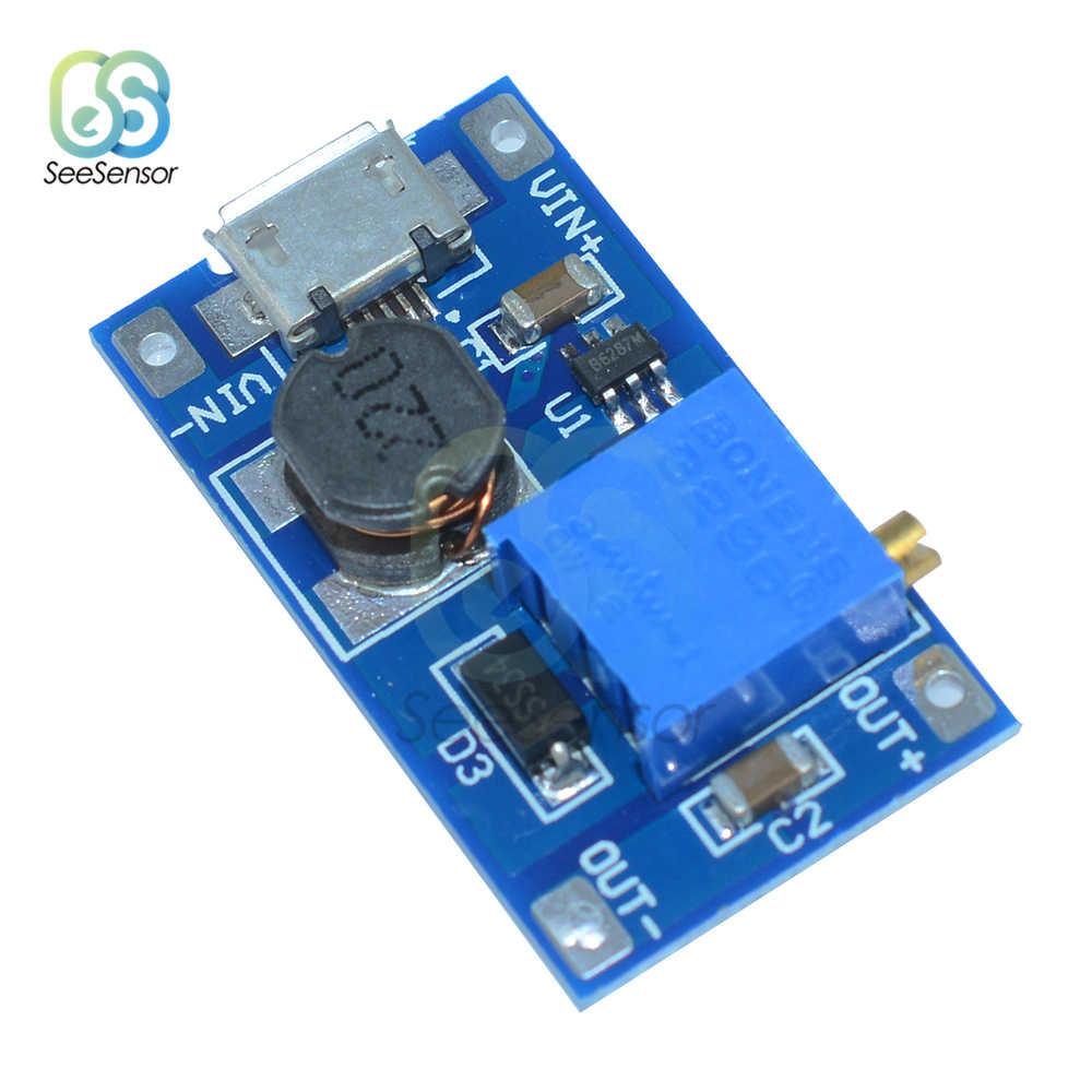 MT3608 2A DC-DC Module de renforcement réglable avec Micro USB 2 V-24 V à 5V 9V 12V 28V