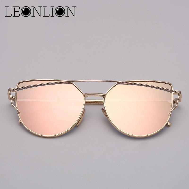 LeonLion Brand Designer Cat eye Sunglasses Women Vintage Metal Reflective Glasses For Women Mirror Retro Oculos