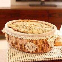 Творческий плетеные корзины покрыты тростника составляет коробка закуски коробки продовольственной корзины для пикника домой органайзера