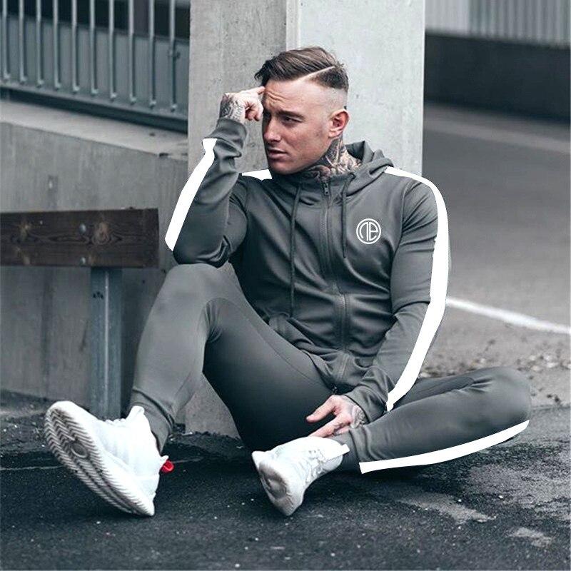 2019 Men Tracksuits Outwear Hoodies Zipper Sportwear Sets Male Sweatshirts Cardigan Men Set Clothing Pants plus size