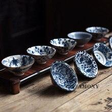 1PCS!!WIZAMONY Bue and White Chinese Porcelain Tea Bowl Teacup Set Ceramic Atique Glaze Kung Fu Master Cup