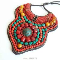 TNL174 Tibetan T show necklace,Tibet Nepal Amazing colorful Stone coral big statement Pendant Necklace 2016 Spring NEW