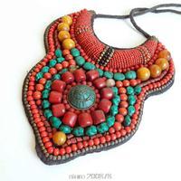 TNL174 Tibetan T show necklace Tibet Nepal Amazing colorful Big Statement Pendant Necklace