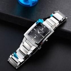 Мужские классические часы со стразами, прямоугольные часы из вольфрамовой стали с сапфировым стеклом и защитой от Scrach, швейцарские часы для...