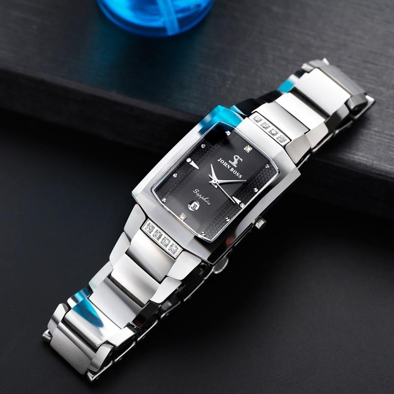 Tungsten Steel Rectangle Business Watch Men Classic Diamond New Fashion Sapphire Glass Anti-Scrach Swiss Movement Couple Watches