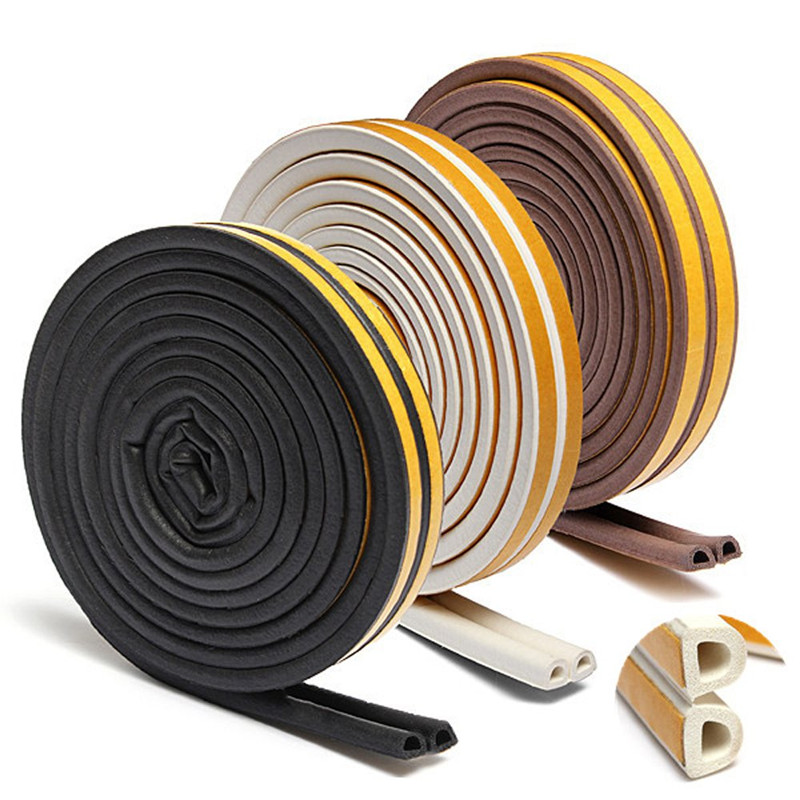 5 Meters D Type Doors Window Soundproof Seal Strip Self-Adhesive Foam Rubber Weatherstrip For Window Seal Door Collision Strip