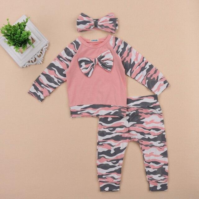 5bd8bfd9504d 3PCS Pink Camo Bowknot Newborn Baby Girl Boy Tops Romper +Long Pants  Headband Outfits Set