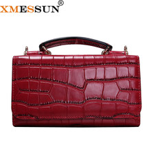 Women Cowhide Leather Clutch Bags Red Crocodile Pattern Handbag Women Shoulder Cross-body Bag Bolsas Wristlet Party Wallets(China)