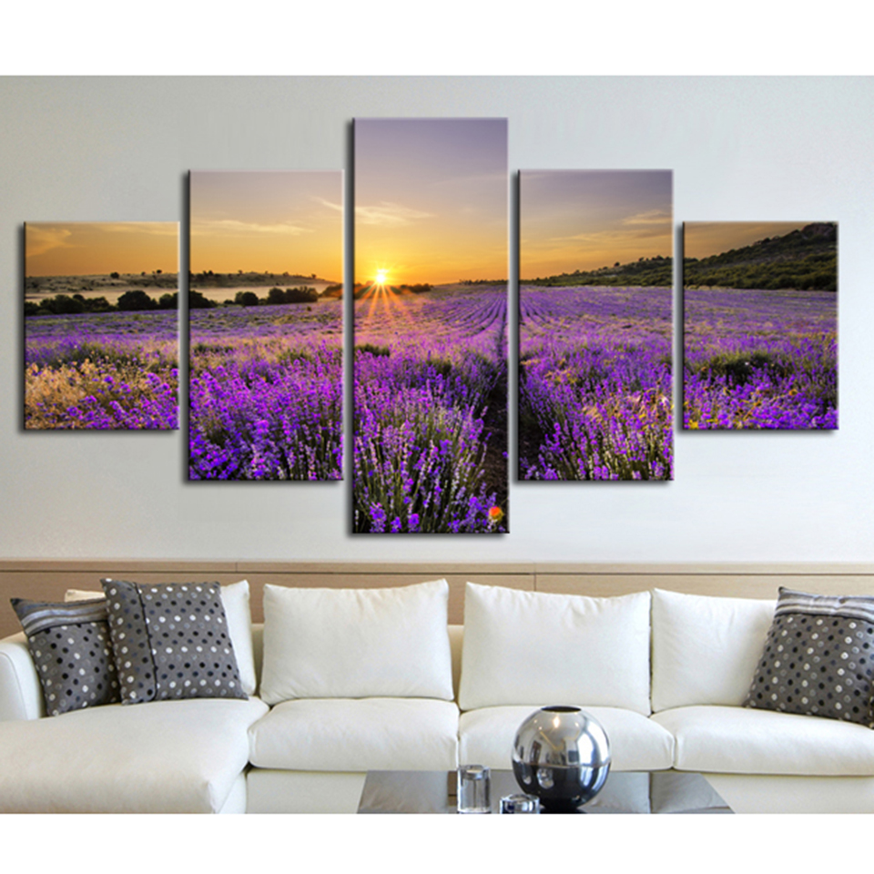 Modern Canvas Wall Art Pictures Frame 5 Piece Sunset Lavender Field Home Decor Room Flower Poster HD Printed Abstract Painting