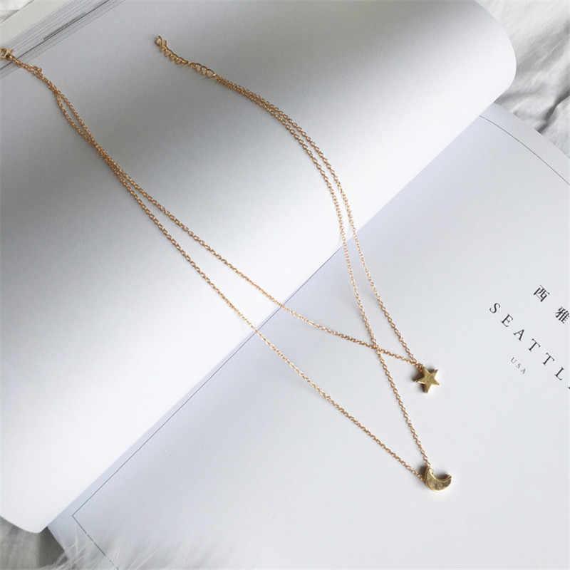 Moda biżuteria złoty kolor księżyc gwiazda słońce wisiorek naszyjniki półksiężyc wisiorek długie naszyjniki dla kobiet 2 sztuk/zestaw hurt