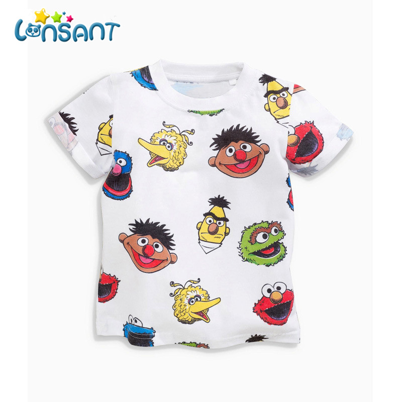 LONSANT Baby Boy Clothes Summer Cartoon Short Sleeve T-Shirts For Boys Kids Toddler Chidren Clothing Set Dropshipping 1-7Y