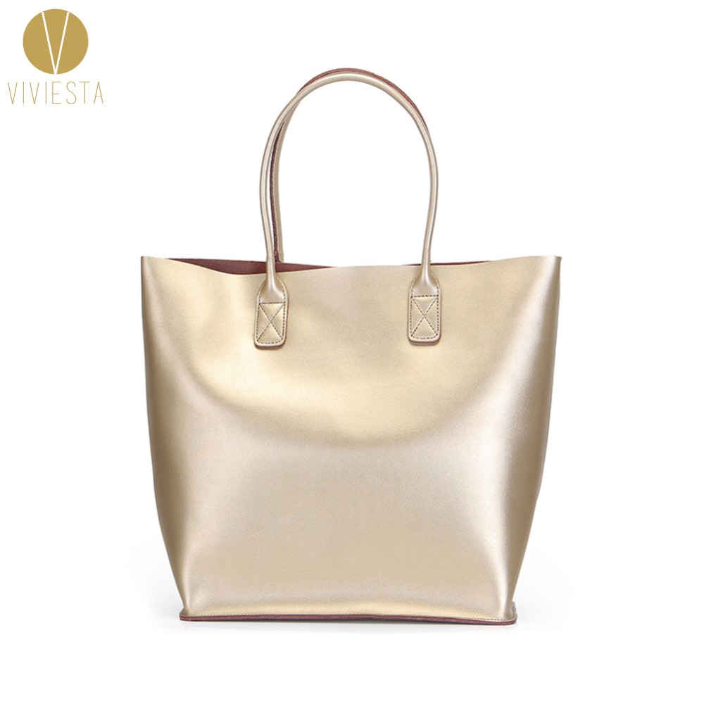 Genuine Leather Metallic Large Tote 2017 Women S Fashion Trendy Silver Gold A4 Size Ping