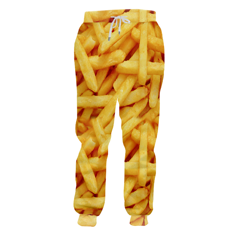 Man Sweatpants Costume Streetwear Loose Plus-Size 5XL Men Fashion Food Print 3D Fries-Chips