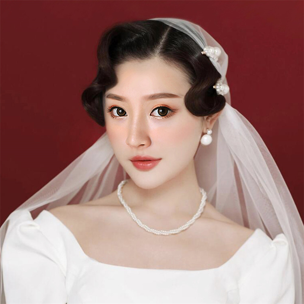 2019 Short Wedding Veils Bridal Veils For Bride Tulle Ivory White Juliet Cap Veil Pearls Hair Clips Velos De Novia Voile Mariage