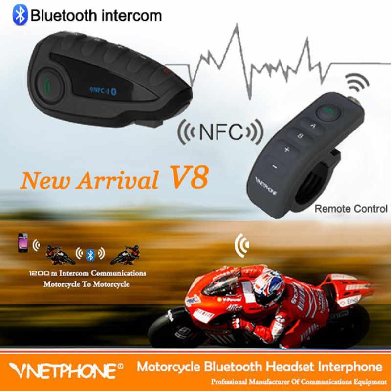 Phiên Bản mới V8 Xe máy Liên Lạc Nội Bộ 1200m Bluetooth FM Không Dây Bảo Hiểm Tai Nghe 5 Người Đi Liên giao tiếp Đa liên lạc nội bộ