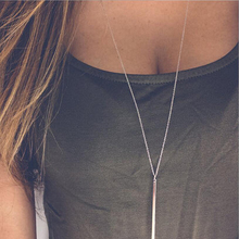 цена на Simple style good quality copper metal bar necklace gold and silver plated color delicate pendant sweater chain for winter