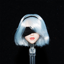 1/6 Anime Nier 2B Female Head Sculpt White Short Hair Head Model Accessories for 12'' Action Figure Body