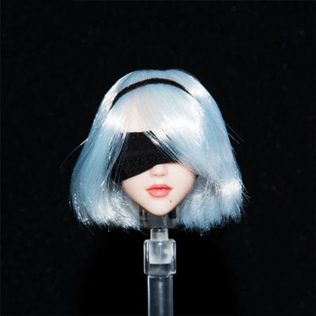1/6 Anime Nier 2B Female Head Sculpt White Short Hair Head Model Accessories for 12'' Action Figure Body
