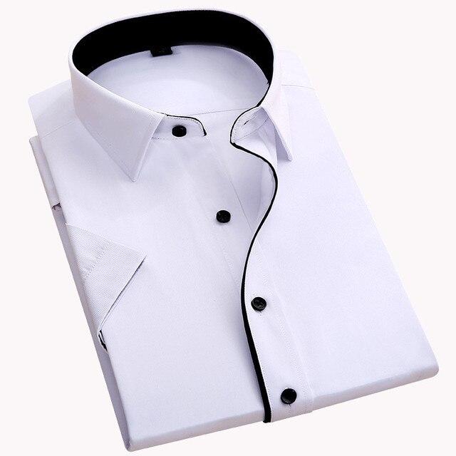 S ~ 8XL קיץ בתוספת גודל ללא חזה כיס 2017 קצר שרוול אריג מוצק slim fit גברים חולצות שמלת קל טיפול שחור כפתור