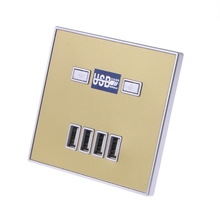 1Pc 220V 4A 86 Type 4 USB Ports WallPower Socket Adapter Charger Panel