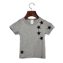 Children Boy Kids Child Cotton Star Short Sleeve Tops O Neck T Shirt Tees 1st birthday boy baby girl summer tops tshirt baby new(China)