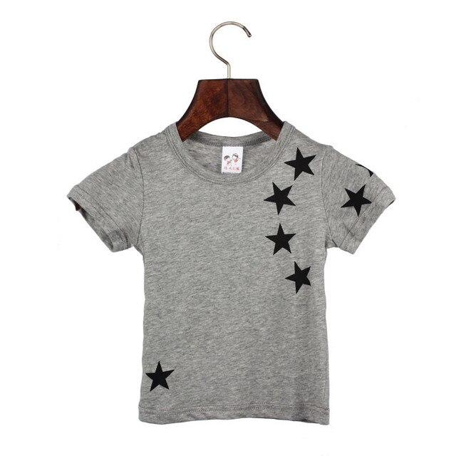 Children Boy Kids Child Cotton Star Short Sleeve Tops O Neck T Shirt Tees 1st Birthday
