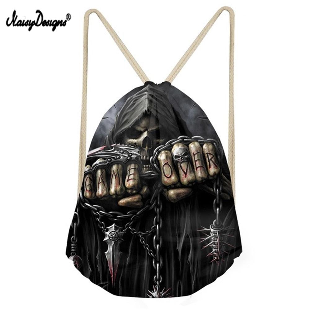 NoisyDesigns Punk 3D Azrael Skull Print Men Drawstrings Bags Vintage Boys Girls Basketball Soccerly Storage Backpacks Faye Bags