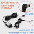 Car Charger DC Converter Module 12V 24V To 5V 2A with mini USB Cable, Low Voltage Protection, Cable Length 3.5m 11.48ft